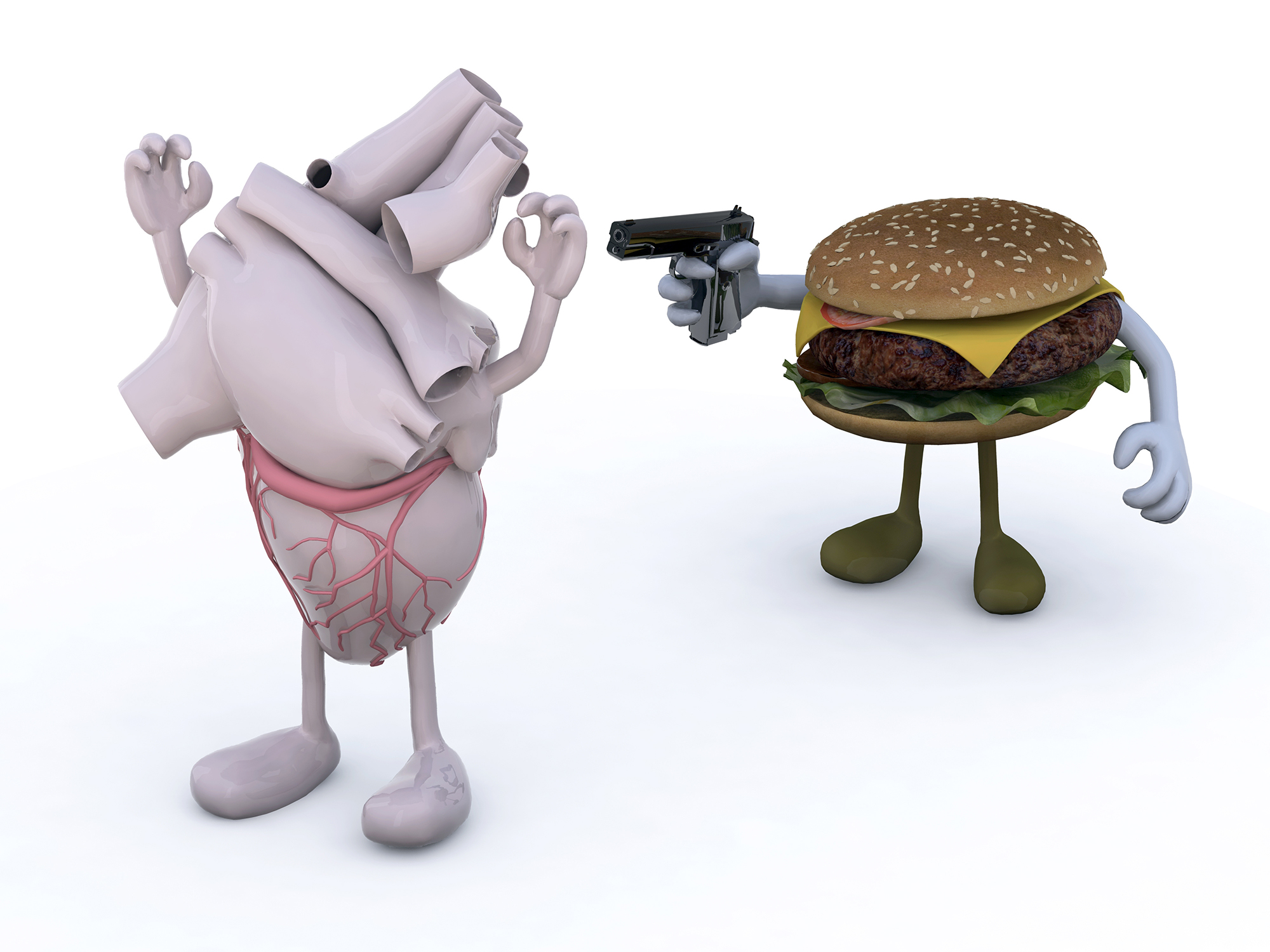 hamburger with arms wielding gun to the human heart, 3d illustration